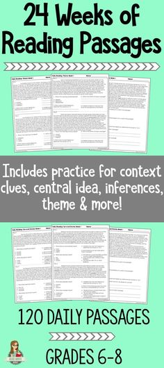 Great test prep that focuses on context clues central idea, inferences, theme & more! #teacher #reading #middleschool #testing