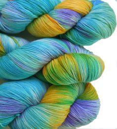 Hand Dyed Sock Yarn, fingering weight, 4ply superwash merino, cashmere 5.2 oz,  LINDAU, color Caribbean Breeze