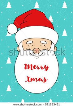 Satisfied Santa Claus. Christmas card/postcard/poster. Christmas vector illustration. Blue shabby background with firs.