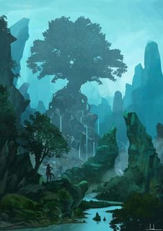 Tree of life artwork fantasy concept art Ideas Fantasy Art Landscapes, Fantasy Landscape, Landscape Art, Landscape Illustration, Forest Illustration, Fantasy Illustration, Fantasy Concept Art, Fantasy Artwork, Concept Art World
