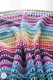 With a sweet rainbow of happy color and simple stitch repeats, this blanket is perfect for a quick project as a gift or for yourself.