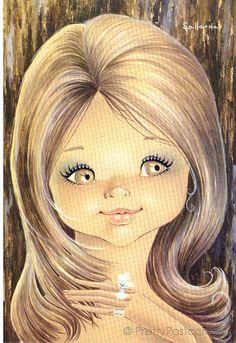 Big Eyed Girl Vintage 70s postcard by Gallarda, She's so Pretty