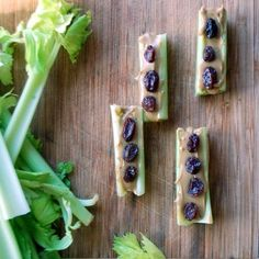 Ants on a Log. Celery with Peanut Butter & Unsulfured Raisins.   Backpacking & Camping Food Idea