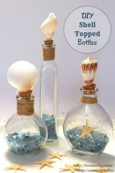 Today Laurie from House of 34 shares a tutorial for DIY Shell Topped Bottles. View the step by step instructions for this quick and easy seashell craft.
