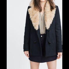 Zara Navy Blue Short Wool Jacket Coat Zara Navy Blue Short Wool Jacket Coat with Detachable Faux Fur Collar. Size L. COMPOSITION OUTER SHELL MAIN FABRIC: 56% wool, 29% polyester, 6% polyamide, 6% acrylic, 3% viscose EMBELLISHMENT: 81% modacrylic, 19% polyester LINING 100% polyester FILLING 100% polyester Zara Jackets & Coats