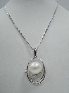 "14K WHITE GOLD CULTURED 9.7MM PEARL PENDANT .05 CT TW DIAMOND 18"" NECKLACE 7.4g #Pendant"