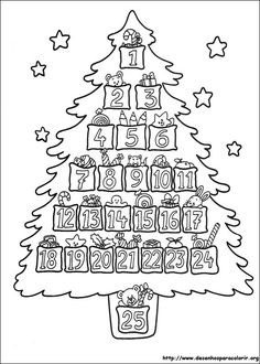 Advent Christmas Tree Coloring Page Noel Christmas, Christmas Countdown, Christmas Wreaths, Christmas Calendar, Colorful Christmas Tree, Christmas Colors, Christmas Activities, Christmas Printables, Christmas Templates