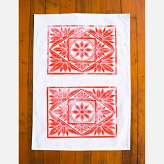 Block Printed Tea Towel Red now featured on Fab.