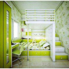 Pretty awesome room! not crazy about the green, but still awesome!