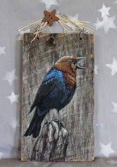 Brown Headed Cowbird songbird hand painted authentic barn