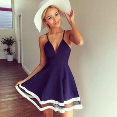 Featured with V-neck, Straps and Patchwork, this short dress is elegant and cool. Blue dress, homecoming dress, summer outfits for teens