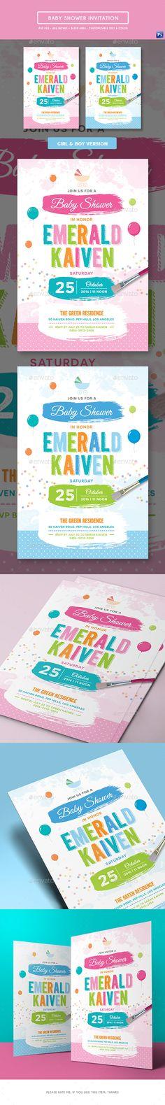 Baby Shower Invitation — Photoshop PSD #baby #birthday invitation • Available here → https://graphicriver.net/item/baby-shower-invitation/19464819?ref=pxcr