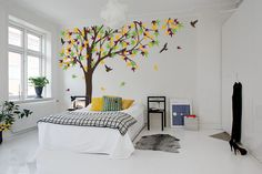 238cm Tall Large Autumn Maple Tree decal Wall Stickers For Kids Room Vinyl Removable Baby Wall Decals Huge Tree Mural D978 #Affiliate