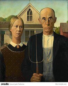 Grant Wood - Amerikan Gotik American Gothic Painting, American Gothic House, Grant Wood American Gothic, American Gothic Parody, American Realism, American Artists, American Gods, American Modern, American History