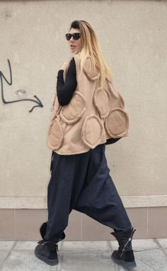 NEW AW/15 Beige Cashmere Sleeveless Coat / Warm and by SSDfashion