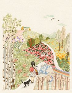 Image discovered by Naty. Find images and videos about girl, cat and wallpaper on We Heart It - the app to get lost in what you love. Space Drawings, Art Drawings, Drawing Art, Illustration Noel, Whimsical Art, Cat Art, Art Inspo, Watercolor Art, Abstract