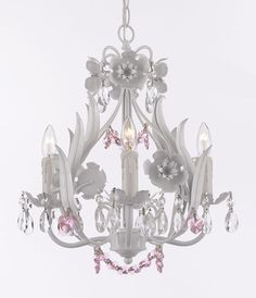 G7-B41/WHITE/326/4 Gallery Fruit / Color Crystal White Iron Floral Crystal Flower Chandelier Lighting W/ Pink Crystal Hearts And Strands! - Perfect For Kid'S And Girls Bedroom!