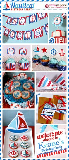 Nautical Birthday Party Package Personalized FULL por venspaperie
