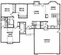 Plan # 1324 - Ranch | First floor plan  entry add more kitchen