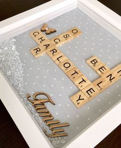 Personalised Family Scrabble 3D Box Frame. Gift, Birthday,Christmas,Wedding | eBay #woodenweddinggifts