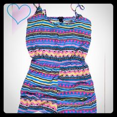 Colorful Aztec Romper Multicolor Aztec romper from Rue21 size large. Adjustable straps. Lightweight and perfect for Summer. Like new condition! Rue 21 Dresses