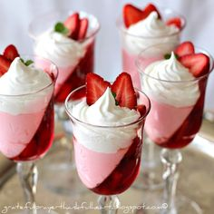 Jello strawberry parfait, beautiful presentation