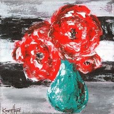 'Red Flowers on Stripes' by Kasey Hope Painting Print on Canvas