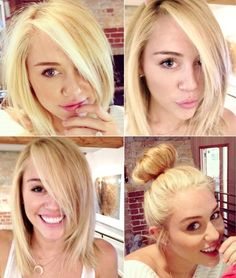 """officialmileyrares: """"Miley with medium length blonde hair """" Fave hairstyle of…"""