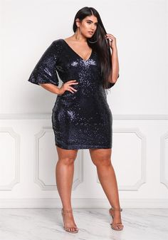 Plus Size Clothing   Plus Size Sequin Plunge Bell Sleeve Bodycon Dress   Debshops