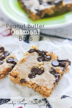 Peanut Butter Oatmeal Bars! These are great to make when you are short on time but want to make a tasty treat.