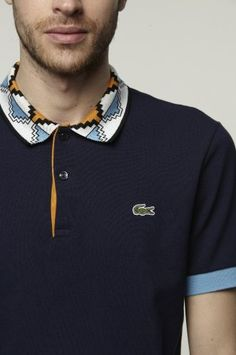 Ethnic detail on collar - Lacoste - Simple shape + bright color Polo Rugby Shirt, Mens Polo T Shirts, Boys T Shirts, Polo Outfit, Shirt Outfit, Polo Shirt Design, Moda Casual, Shirt Designs, Casual Outfits