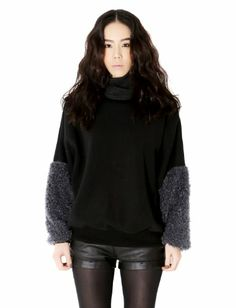 $37.31 cool Bluepops - Women's Two Tone Pullover with Fur Knit Sleeves