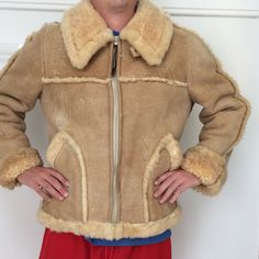 ea50742a89b 1970 s shearling leather bomber jacket creamy by mightyMODERN Vintage Fur
