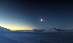 The sun is a ring in this photo of the 2015 total eclipse over the isolated, snowy landscape of Sassendalen, Norway
