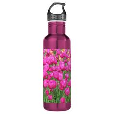 Pink Tulips 24oz Water Bottle.  Artwork designed by northwestphotos.