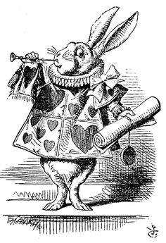 White Rabbit, dressed as herald, blowing trumpet