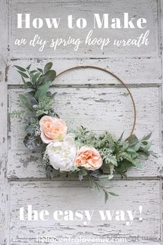An Easy DIY Spring Hoop Wreath Make an easy spring hoop wreath using greens and faux flowers. Just tie and glue the stems in place to create a beautiful wreath for any time of year. Diy Spring Wreath, Diy Wreath, Tulle Wreath, Winter Wreaths, Burlap Wreaths, Wreath Ideas, Spring Crafts, Holiday Wreaths, Faux Flowers