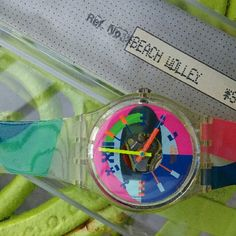 Vintage Swiss Swatch Watch Beach Volley Super cool 1990s era Swatch  Watch. New old stock. This watch will need a new battery  and I recommend  a new band if you're looking  to wear. The watch comes with orginal case and is new from the 1990s Swatch Accessories Watches