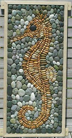 Галечная культура (трафик) / Арт-объекты / ВТОРАЯ УЛИЦА mosaics, stone mosaics seahorse