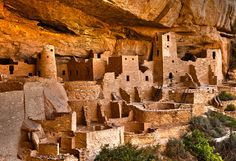 Mesa Verde National Park, Cortez, Colorado - The park was created in 1906 by President Theodore Roosevelt. The Anasazi inhabited Mesa Verde between 600 CE to 1300 CE.  Mesa Verde is best known for cliff dwellings, which are structures built within caves & under outcropping in cliffs — including Cliff Palace, thought to be the largest cliff dwelling in North America