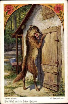 Artist Postcard Herrfurth, Oskar, Brüder Grimm, Der Wolf und die sieben Geißlein The Wolf & the Seven Little Kids (goats)