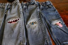 Monster Knee Patches - All Might have to try this. Gavin has worn holes in almost all his jeans! Diy Clothing, Sewing Clothes, Sewing Jeans, Fashion Mode, Diy Fashion, Patched Jeans, Denim, Ripped Jeans, Work Jeans