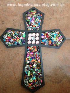 Wooden cross, mosaic cross, wall cross with glass gems
