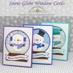 Frosty Friends: Snow Globe Inspiration - snow globe cards by Amanda Coleman from Doodlebug Design using the new Frosty Friends collection Stamped Christmas Cards, Christmas Cards To Make, Christmas Greeting Cards, Holiday Cards, Christmas Decor, Punch Art Cards, Christmas Snow Globes, Snowman Cards, Window Cards