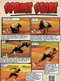 Sprint Start resource Physical Education Lessons, Health Education, Track Workouts For Sprinters, How To Sprint Faster, Sprinter Workout, Running Training Programs, Pe Lesson Plans, Speed Workout, Pe Lessons