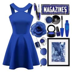 """""""Dark Blue & Dangerous"""" by angelstylee ❤ liked on Polyvore featuring MAC Cosmetics, Chicnova Fashion, Essie, Maybelline, Chanel, OPI, Kevin Jewelers, Blue, dress and Dark"""