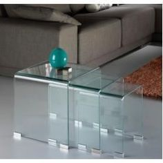 Transparent curved glass nest of tables Leather Bed, Curved Glass, Nesting Tables, Living Room Inspiration, Luxury Furniture, Filing Cabinet, Table Settings, Interior Design, Storage