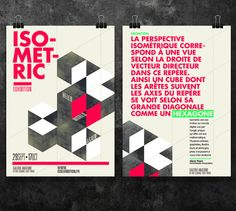 Graphic Poster Designs by Thomas Ciszewski for Isometric Exhibition Japanese Graphic Design, Graphic Design Trends, Graphic Design Posters, Graphic Design Typography, Poster Designs, Isometric Art, Isometric Design, Creative Flyer Design, Creative Flyers