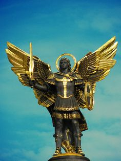 This is a photo of a St. Michael monument in Kyiv at the Independence Square. Saint Michael the Archangel ~ Kyiv, Ukraine The original photo I took [link] Saint Michael the Archangel Saint Michael, Religious Tattoo Sleeves, Age Of Aquarius, Ukrainian Art, Angels Among Us, Archangel Michael, Angeles, Guardian Angels, Cover Tattoo
