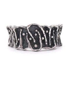 Guy Vidal, Canada - vintage deeply textured hinged pewter bracelet